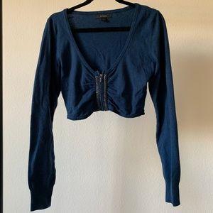 Express Blue Metallic Cropped Cardigan